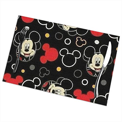 LIUYAN Placemats Mickey Mouse Placemat Washable Table Mats Set of 6 for Dining Table