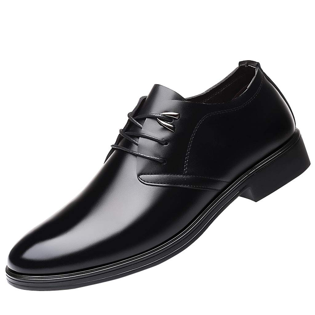 AHAYAKU Fashion Men Business Leather Shoes Casual Round Toe Lace-UP Shoe Male Suit Shoes Black