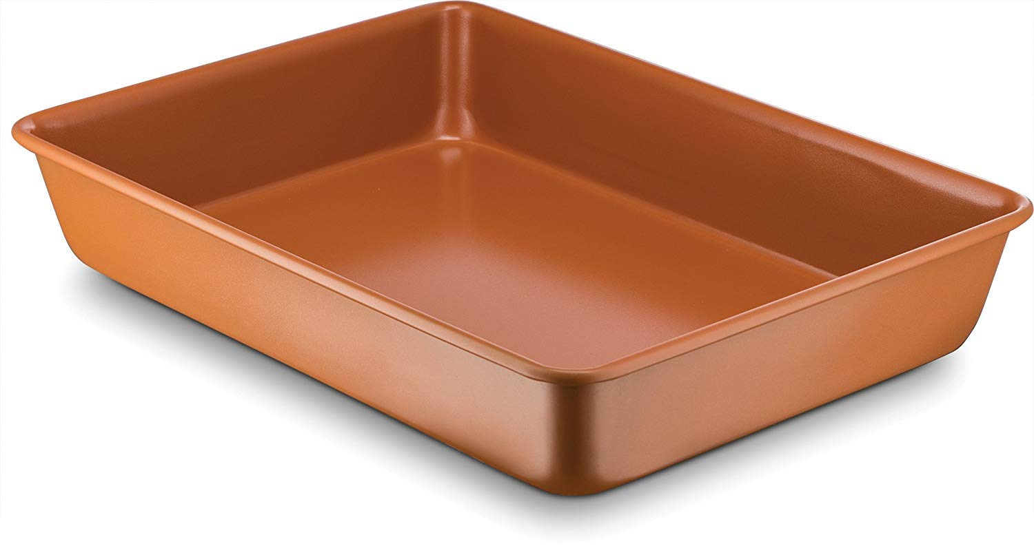 """Nonstick Copper 9"""" x 13""""Ceramic Coated Baking Pan even cooking,Dishwasher and Oven Sfe-PTFE PFOA Free"""