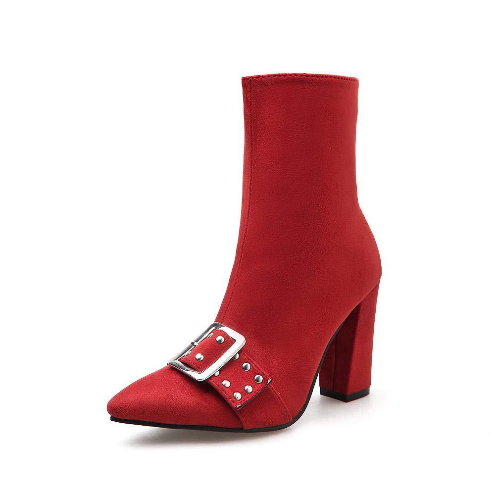 Olprkgdg Damen-Wildleder-Stiefeletten mit hohem Absatz und Spitzen Nieten aus Martin-Stiefeln (Farbe   rot Größe   35)