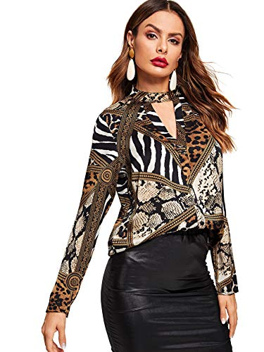 WDIRARA Women's Sexy Choker V Neck Long Sleeve Blouse Tee Shirt Tops Brown S
