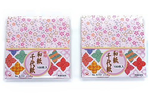 Origami Paper - Washi Chiyogami Style, 100 Sheets, 10 Designs - 6