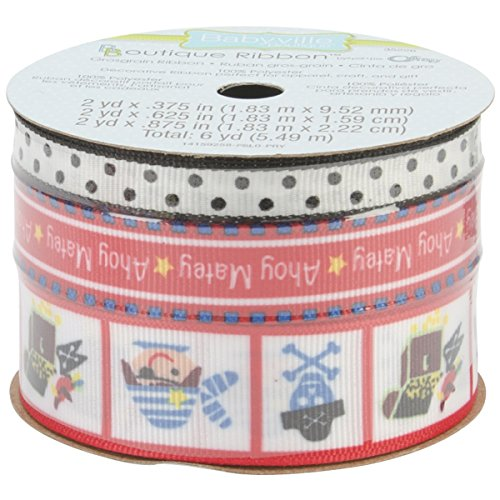 Ribbon Iron Collection (Babyville 3-Design 2-Yard Boutique Ribbon, 3 Sizes, 3/8-Inch/5-8-Inch/7/8-Inch, Little Pirates Collection)