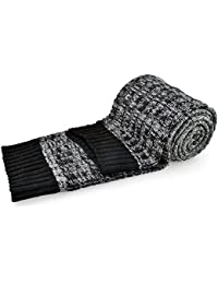 Men's Cashmere Scarf, Winter Thick Cable Knit Wool Gradient Long Scarf