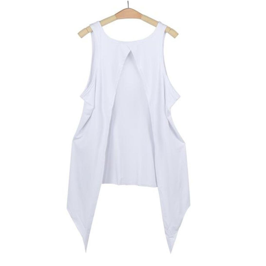 Womens Neon Glitter Splatter Sleeveless Twin Layer Vest Tank Top Necklace 8-14