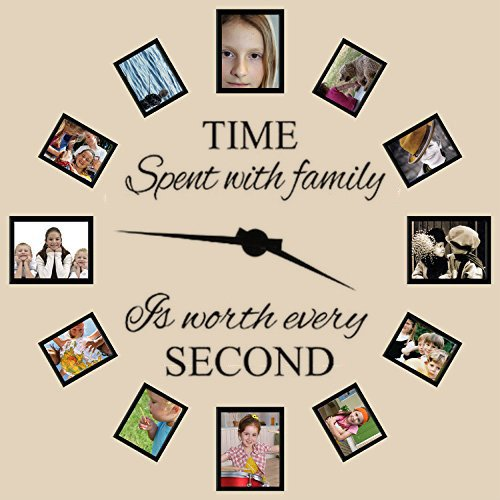Family Wall Decals~Time Spent with Family Is Worth Every Second Wall Decal Quote Home Decor Art Quote Decals Wall Art Stickers Decal Home Decor Decorate( NO PHOTOS or CLOCK ARMS)