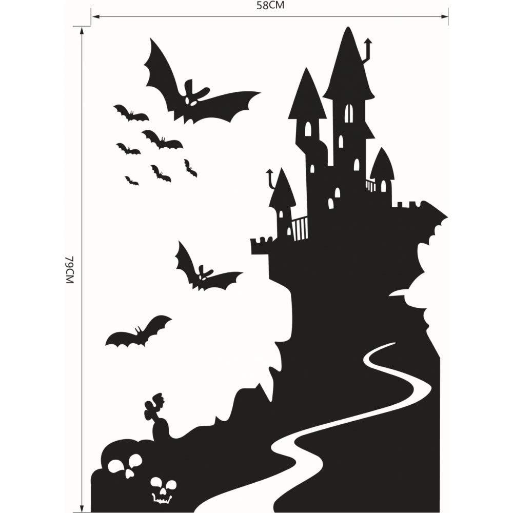 GSYDWSJTZ 2pcs Halloween Tallada Serie Bat Castle Castle Bat Etiqueta de la Pared Pegatinas 72f365
