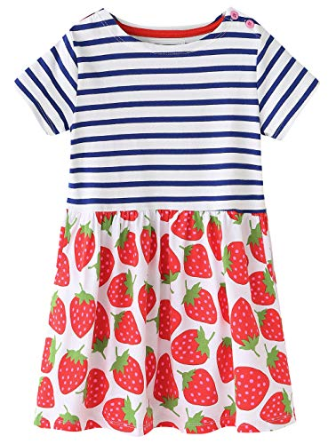 Fiream Girls Dresses Short Sleeve Summer Cotton Striped Cute Strawberry Print Pattern Casual Dress for Toddle(SY036,7T/7-8YRS)