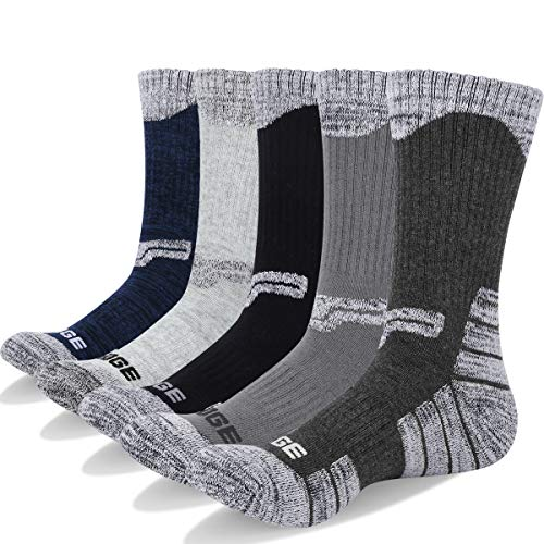 YUEDGE 5 Packs Men's Antiskid Wicking Outdoor Multi Performance Hiking Cushion Socks, Men Shoe 7-10.5 US Size from YUEDGE