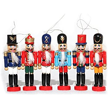 naimo set of 6 christmas wooden nutcracker soldier ornament decoration for home christmas gift - Nutcracker Christmas Ornaments