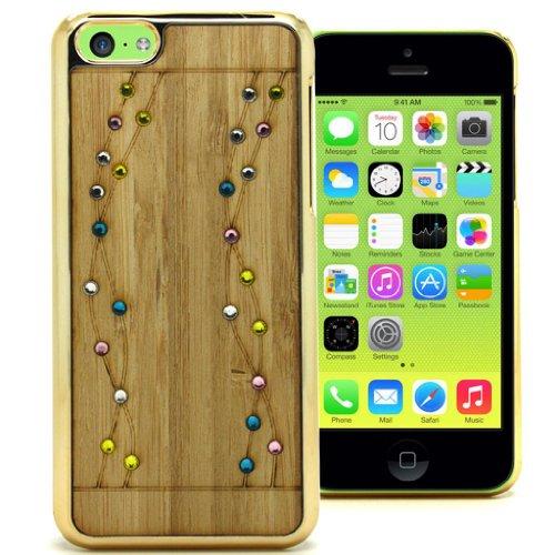 Accessory Master 5055716373356 Diamant Strass Stones Blumen-Design Harte Abdeckung für Apple iPhone 5C braun