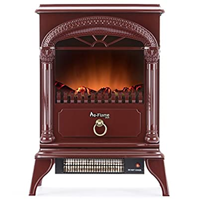 e-Flame USA Hamilton Portable Electric Fireplace Stove (Rustic Red) - This 22-inch Tall Freestanding Fireplace Features Heater and Fan Settings with Realistic and Brightly Burning Fire and Logs