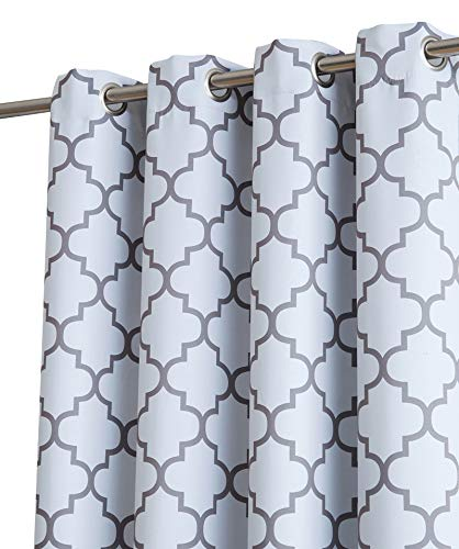 """HLC.ME Lattice Print Thermal Insulated Room Darkening Blackout Window Curtain Panels for Bedroom - Set of 2-37"""" W x 84"""" L - Platinum White & Grey"""