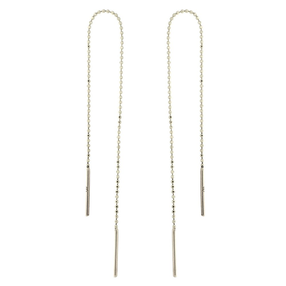 Automic Gold Solid 14k White Gold Beaded Chain Thread Earrings