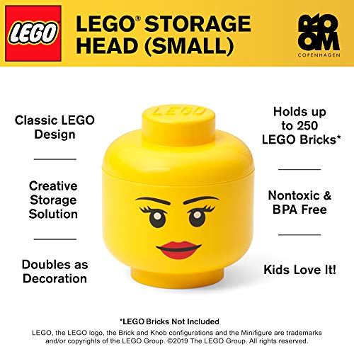 LEGO Storage Head Small, Girl, 6-1/2 x 6-1/2 x 7-1/3 Inches, Yellow