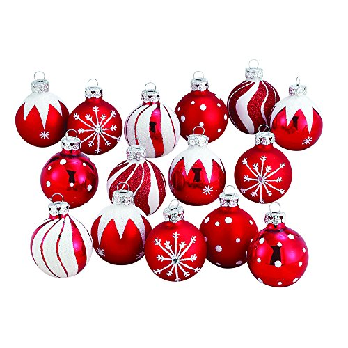 Kurt Adler 1.57-Inch Red/White Decorated Glass Ball Ornament set of 15 - Decorated Glass Ball Ornaments
