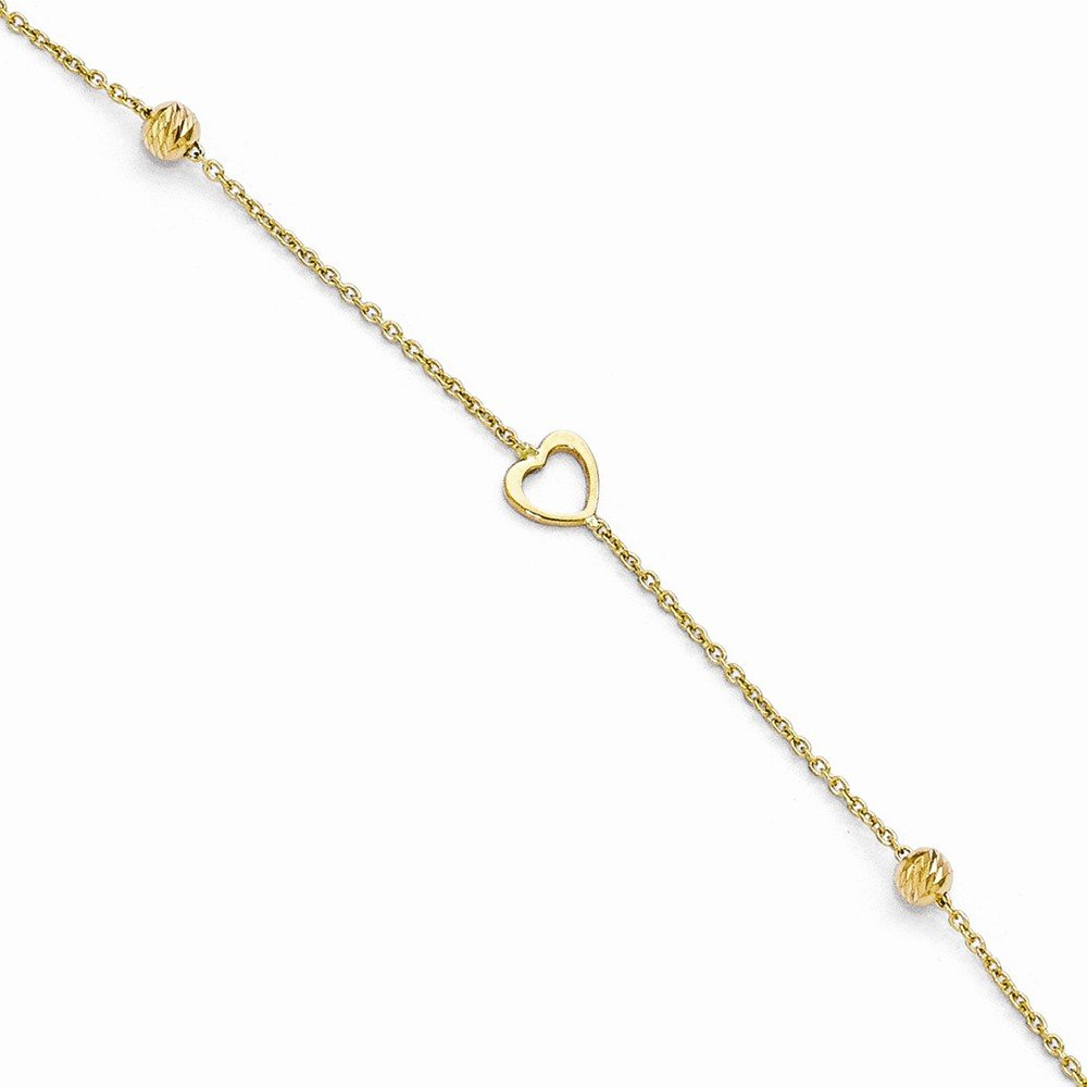 Leslie's 14K Yellow Gold Polished and Dia-Cut Heart Anklet with 1in ext