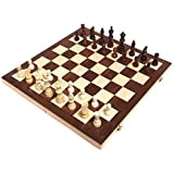 """Chess Armory 15"""" Wooden Chess Set Felted Game Board Interior Storage"""