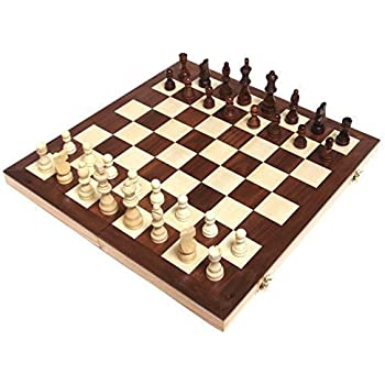 "Chess Armory 15"" Wooden Chess Set with Felted Game Board Interior for Storage"