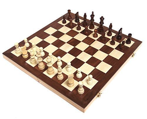 "Chess Armory 15"" Wooden Chess Set Interior Storage"