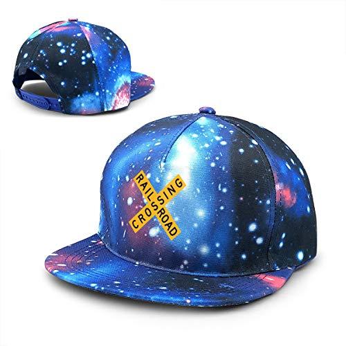 J122 Railroad Crossing Sign Unisex Hip Hop Cap Baseball Hat Adjustable Plain Cap Street Dance Cap Blue ()