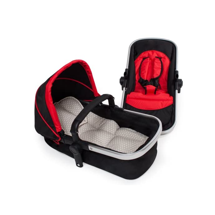 TecTake 3 in 1 Pushchair stroller combi stroller buggy baby jogger travel buggy kid's stroller -different colours- (Red/Black)