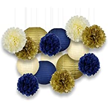 Just Artifacts Decorative Paper Party Pack (15pcs) Paper Lanterns and Pom Pom Balls - Ivory/Navy/Gold