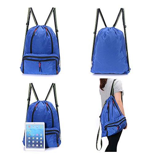 Drawstring Backpack Cinch Sack Foldable Sackpack Lightweight Gym Sack for Summer Swimming Travel Beach Dancing Gym Sports by Yinjue (Image #6)
