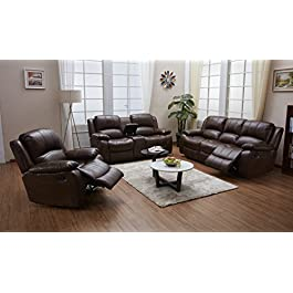 Betsy Furniture 3PC Bonded Leather Recliner Set Li...