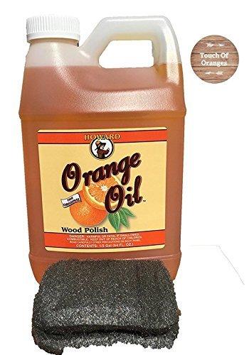 (Howard Orange Oil 64 Ounce Half Gallon, Clean Kitchen Cabinets, Best Furniture Polish, Orange Wood Cleaner)