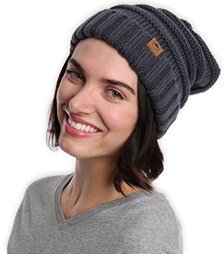Slouchy Cable Knit Cuff Beanie by Tough Headwear - Chunky, Oversized Slouch Beanie Hats for Men & Women - Stay Warm & Stylish - Serious Beanies for Serious Style (with 10+ Colors)