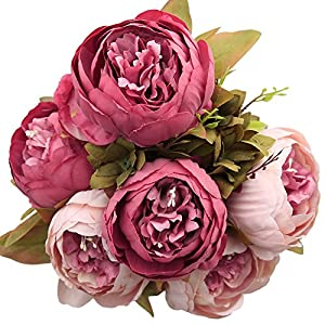 Luyue Vintage Artificial Peony Silk Flowers Bouquet Home Wedding Decoration,Dark Pink 28