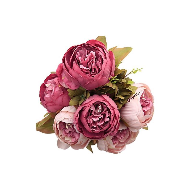 silk flower arrangements luyue vintage artificial peony silk flowers bouquet home wedding decoration,dark pink