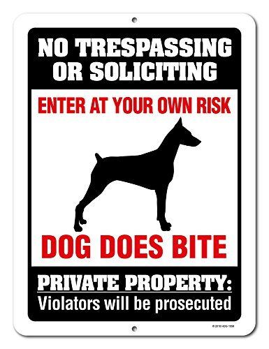 No Trespassing or Soliciting Dog Does Bite - 9 x 12 inch Metal Aluminum Novelty Sign Decor, Beware of Dog Sign - Made in The USA ()