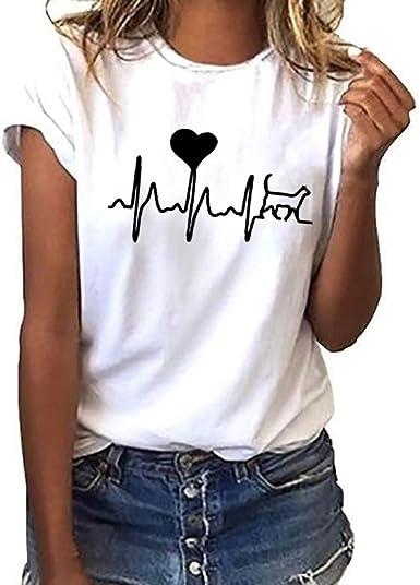 MEIbax Camisetas mujer manga corta con Cuello Redondo con Estampado De Electrocardiograma Corazones Impresión Blusa Suelta Tops Casuales Camisa Moda causal Camisa Blusa verano Señoras Suelto T-Shirt: Amazon.es: Ropa y accesorios