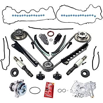 amazon com engine timing chain kit w chain guide tensioner sprocketyjracing vvt timing chain kit w camshaft phasers (lh \u0026 rh),water pump,timing cover gasket set, pair vct camshaft timing solenoid valve fit for 04 08 ford