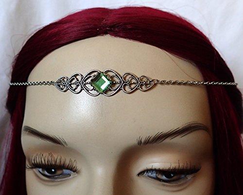 [Peridot Celtic Elven Elf Silver Filigree Circlet Headpiece Headdress Crown Rennaissance Medieval Halloween Costume] (Elf Maiden Costume)
