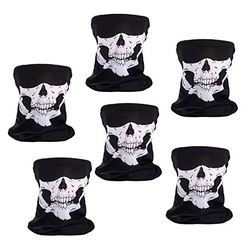 Scafiv 6 Pieces Skull Mask Black for Halloween Mask Cosplay Breathable Seamless Tube Skull Face Mask for Outdoor Sport (Halloween Half Skull Makeup)