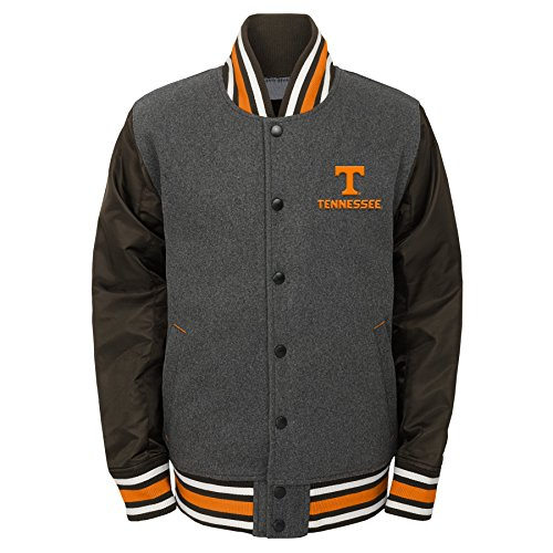 OuterStuff NCAA Tennessee Volunteers Youth Boys Letterman Varsity Jacket, X-Large (18), Charcoal - Volunteers Tennessee Jacket