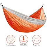 BuySevenSide Camping Hammock Garden Hammock For 660lbs, Ultralight Portable Nylon Parachute Double Hammock for Backpacking, Travel, Beach, Yard (orange)