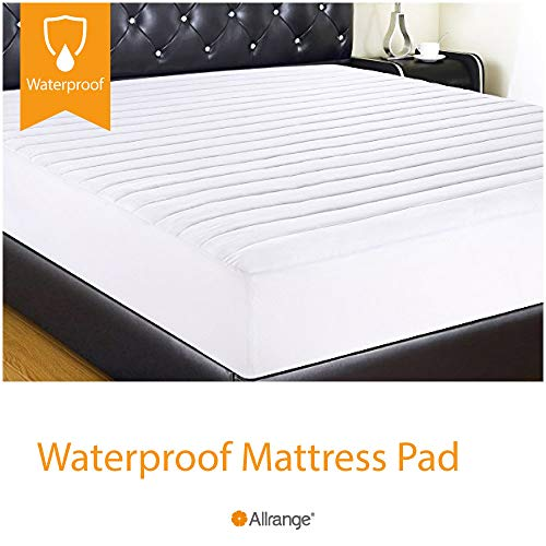Allrange Clean&Safe Quilted Fitted Waterproof Mattress Pad, Stretch-up-to 16, Moisture Management, Snug Fit, Mattress Protector, Twin