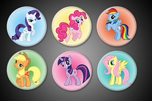 My Little Pony Pins pinback pins collection set of 6 Rainbow Dash, Fluttershy, Twilight Sparkle, Apple Jack, Rarity, Pinkie Pie For Bags, luggage, jackets, backpack 1.75