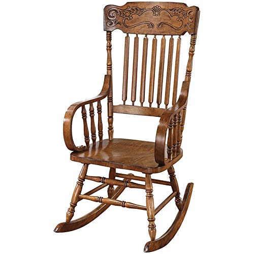 Rocking Chair with Ornamental Headrest Warm Brown by Coaster Home Furnishings