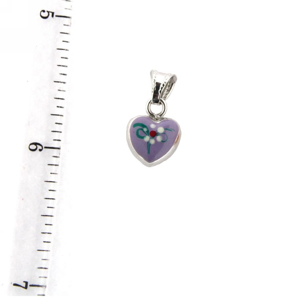 10mm//17mm with Bail 18K White Gold Lavender Enamel Heart Charm