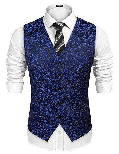 COOFANDY Men's Floral V-Neck Suit Slim Fit Jacket Dress Vest Waistcoat for Men Tuxedo Vest,Blue,Medium
