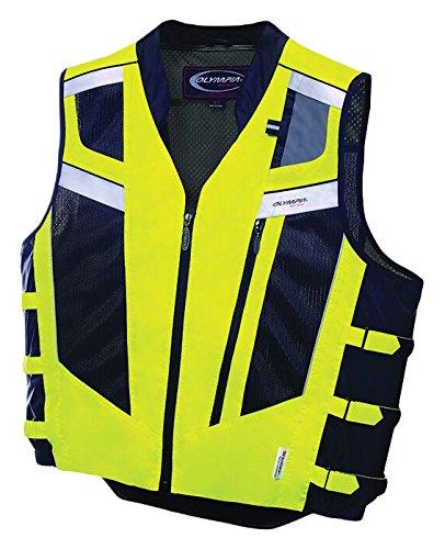 Olympia Moto Sports 243-306013 MV306 Blaze Hi-Viz Safety Vest (Neon Yellow/Black, Medium/Large) by Olympia Moto Sports