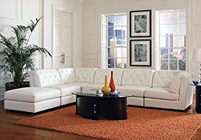 1PerfectChoice Quinn Elegant Living Room Sectional Sofa White Bonded Leather Match Tufted Back