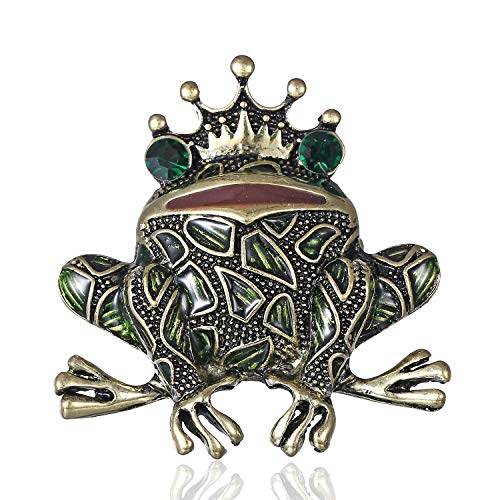 AILUOR New Unique Green Eyed Frog Brooch Pin, Vintage Gold-Tone Rhinestone Enamel Crown Toad Insect Animal Lapel Pins for Women Men (Green) -