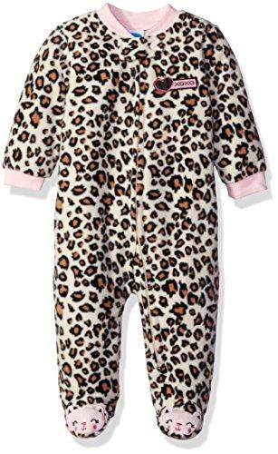 (Bon Bebe Baby Girls' Microfleece Zip Front Coverall, XOXO Leopard 3-6 Months)