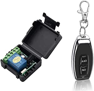 OWSOO Wireless Remote Switch 433Mhz RF Switch Relay Receiver Transmitter Universal Remote Control Switch Module and RF Transmitter Remote Controls 1527 Smart Home DC 12V 1CH
